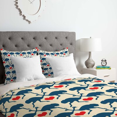 Ostrich and Heart Duvet Cover Set Size: Twin/Twin XL