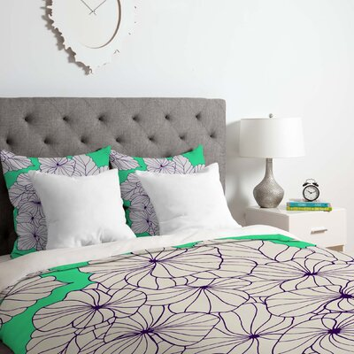 Hydrangea Mint Duvet Cover Set Size: Queen
