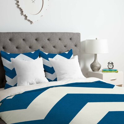 Denim Chevron Duvet Cover Set Size: Queen