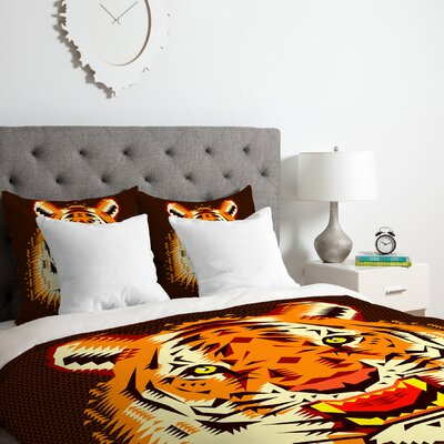 Geometric Tiger Duvet Cover Set Size: King