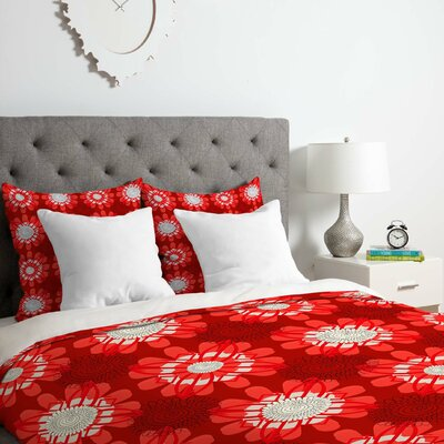 Red Flowers Duvet Cover Set Size: Twin/Twin XL