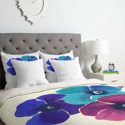 Pansies Duvet Cover Set Size: Queen