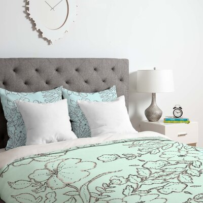 Floral Scroll Mint Duvet Cover Set Size: Queen