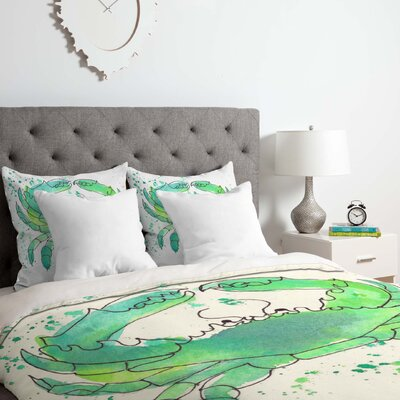 Laura Trevey Seafoam Crab Duvet Cover Set Size: Queen