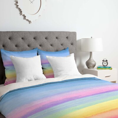 Rainbow Ombre Duvet Cover Set Size: King