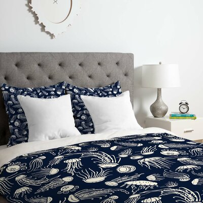 Jennifer Denty Jellyfish Duvet Cover Set Size: Queen