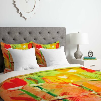 Citrus Tulips Duvet Cover Set Size: King