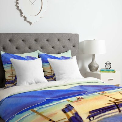 Laura Trevey Beach Chairs Duvet Cover Set Size: King