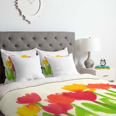 Bright Tulips Duvet Cover Set Size: King