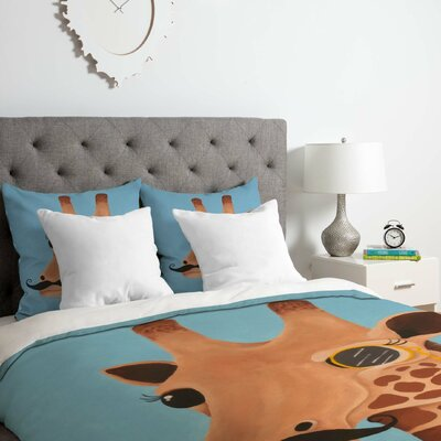 Gentleman Giraffe Duvet Cover Set Size: King