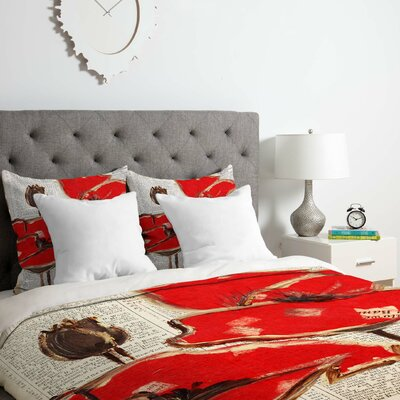 Red Perfection Duvet Cover Set Size: Queen