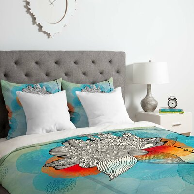 Coral Duvet Cover Set Size: Queen