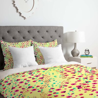 Floral Lime Duvet Cover Set Size: Twin/Twin XL