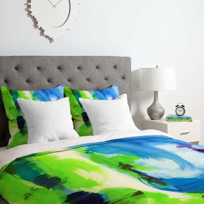Laura Trevey Shot of Lime Duvet Cover Set Size: Queen