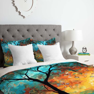 Aqua Burn Duvet Cover Set Size: King