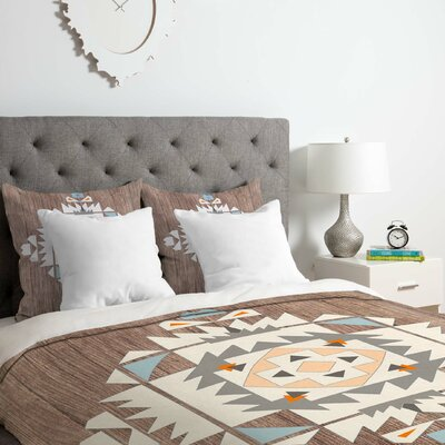 Cream Tribal Duvet Cover Set Size: Queen
