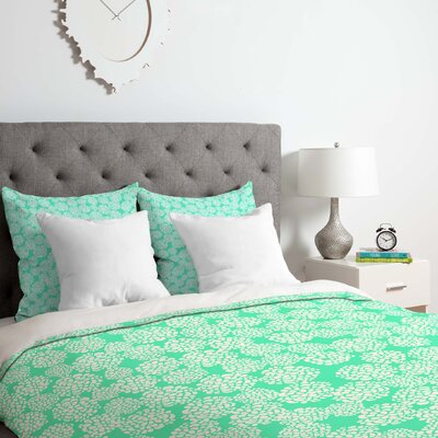 Joy Laforme Dahlias Seafoam Duvet Cover Set Size: Queen