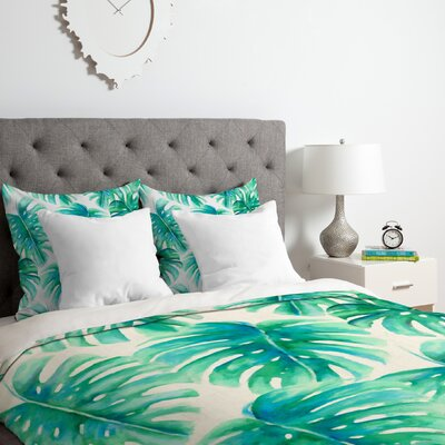 Paradise Palms Duvet Cover Set Size: Queen
