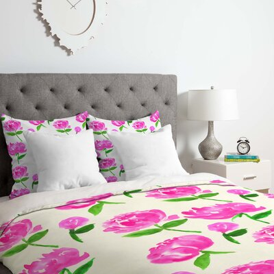 Peonies in Bloom Duvet Cover Set Size: King