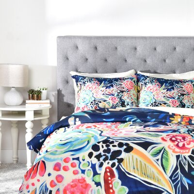 Night Bloomers Duvet Cover Set Size: Queen