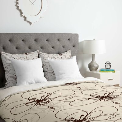 Tonal Floral Duvet Cover Set Size: Queen