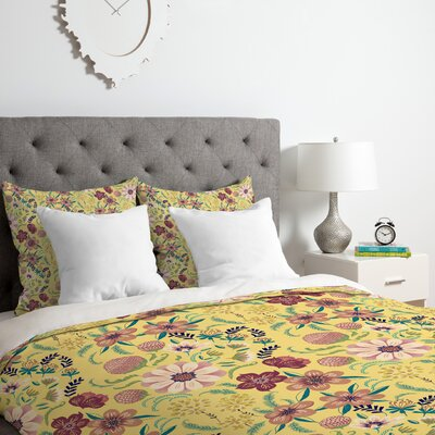 Canary Floral Duvet Cover Set Size: King