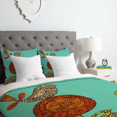 Bird in the Flower Duvet Cover Set Size: Queen