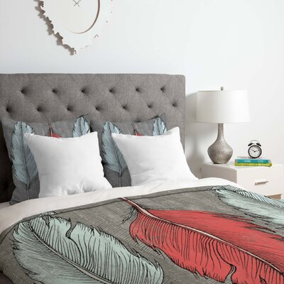 Bird Feathered Duvet Cover Set Size: Twin/Twin XL