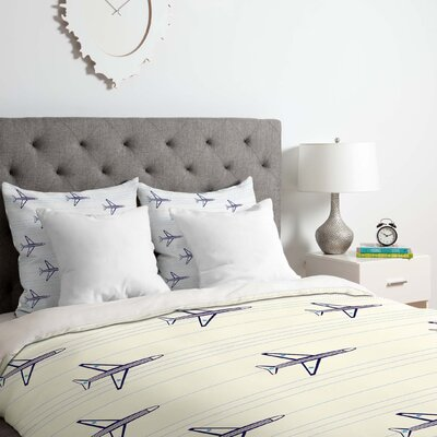 Airplanes Duvet Cover Set Size: King