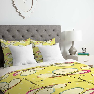 Floral Umbrellas Duvet Cover Set Size: King