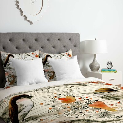 Love Birds Duvet Cover Set Size: Queen