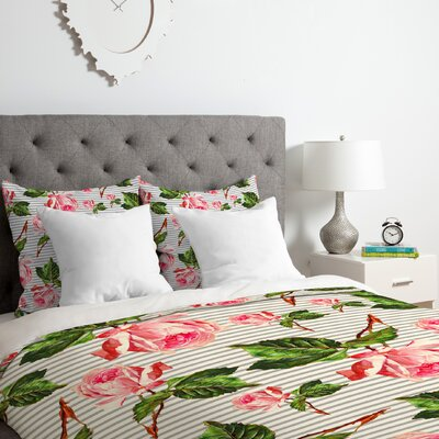 Allyson Johnson Roses and Duvet Cover Set Size: King