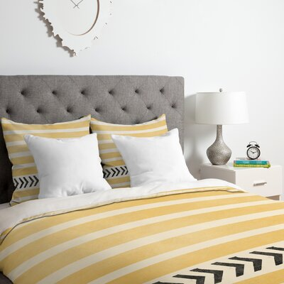 Allyson Johnson Yellow Stripes and Arrows Duvet Cover Set Size: Queen
