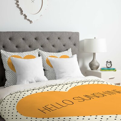 Hello Sunshine Heart Duvet Cover Set Size: King