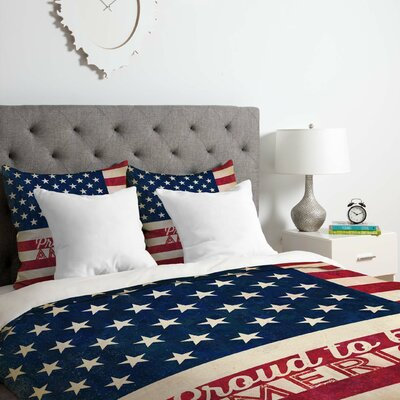 Proud to Be An American Flag Duvet Cover Set Size: Queen