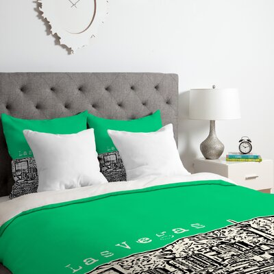 Bird Ave Las Vegas Duvet Cover Set Color: Green, Size: Queen