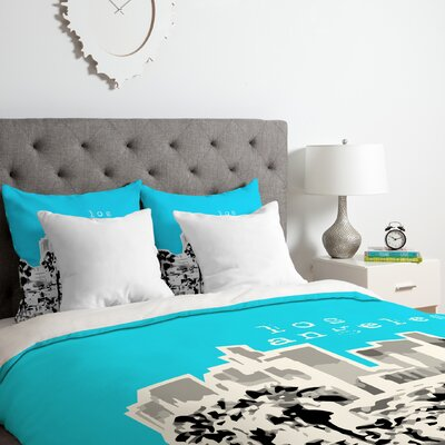 Los Angeles Duvet Cover Set Color: Aqua, Size: Queen