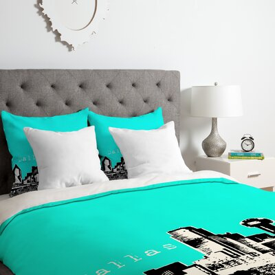 Dallas Duvet Cover Set Size: King, Color: Aqua