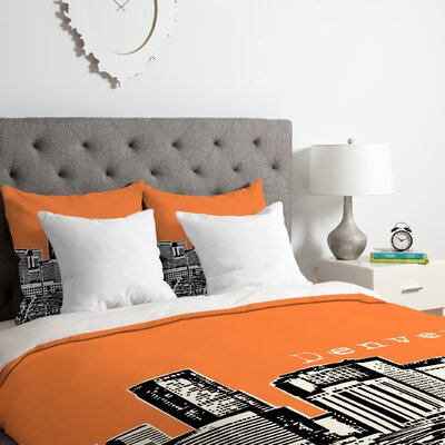 Denver Duvet Cover Set Size: King, Color: Orange