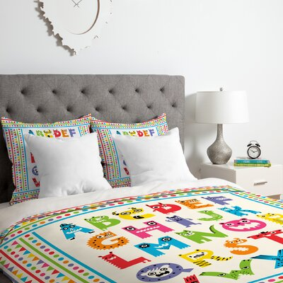 Alphabet Monsters Duvet Cover Set Size: King