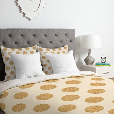 Gold Dots Duvet Cover Set Size: King