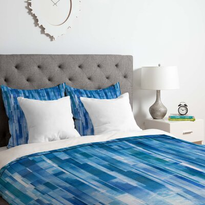 Rain Duvet Cover Set Color: Blue, Size: King