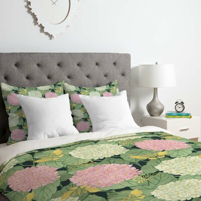 Hydrangea and Butterflies Duvet Cover Set Size: Queen