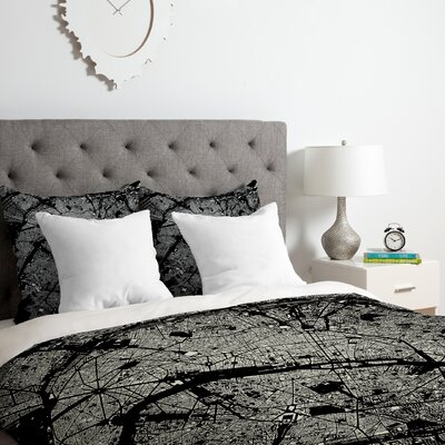 Paris Duvet Cover Set Color: Black, Size: Queen