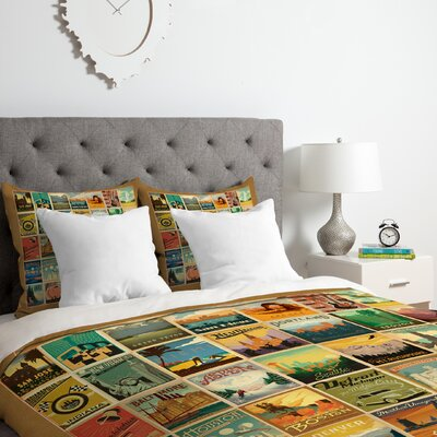 City Pattern Border Duvet Cover Set Size: Queen