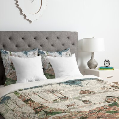 Belle 13 Paris Map Under the Paris Sun Duvet Cover Set Size: Twin/Twin XL