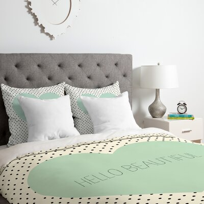 Hello Beautiful Heart Duvet Cover Set Size: Twin/Twin XL