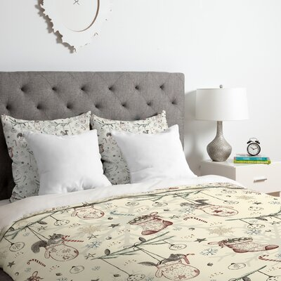 Squirrel Heavenly Christmas Duvet Cover Set Size: King