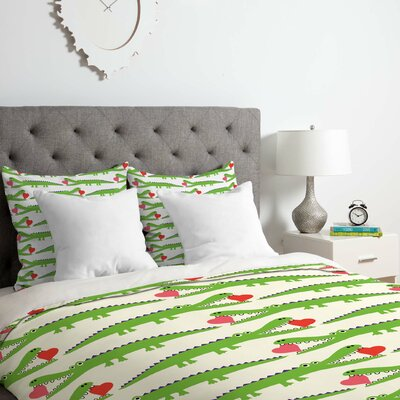 Alligator Love Duvet Cover Set Size: King