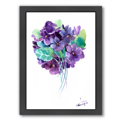 African Violets Framed Painting Print Size: 12.5 H x 10.5 W x 1.5 D